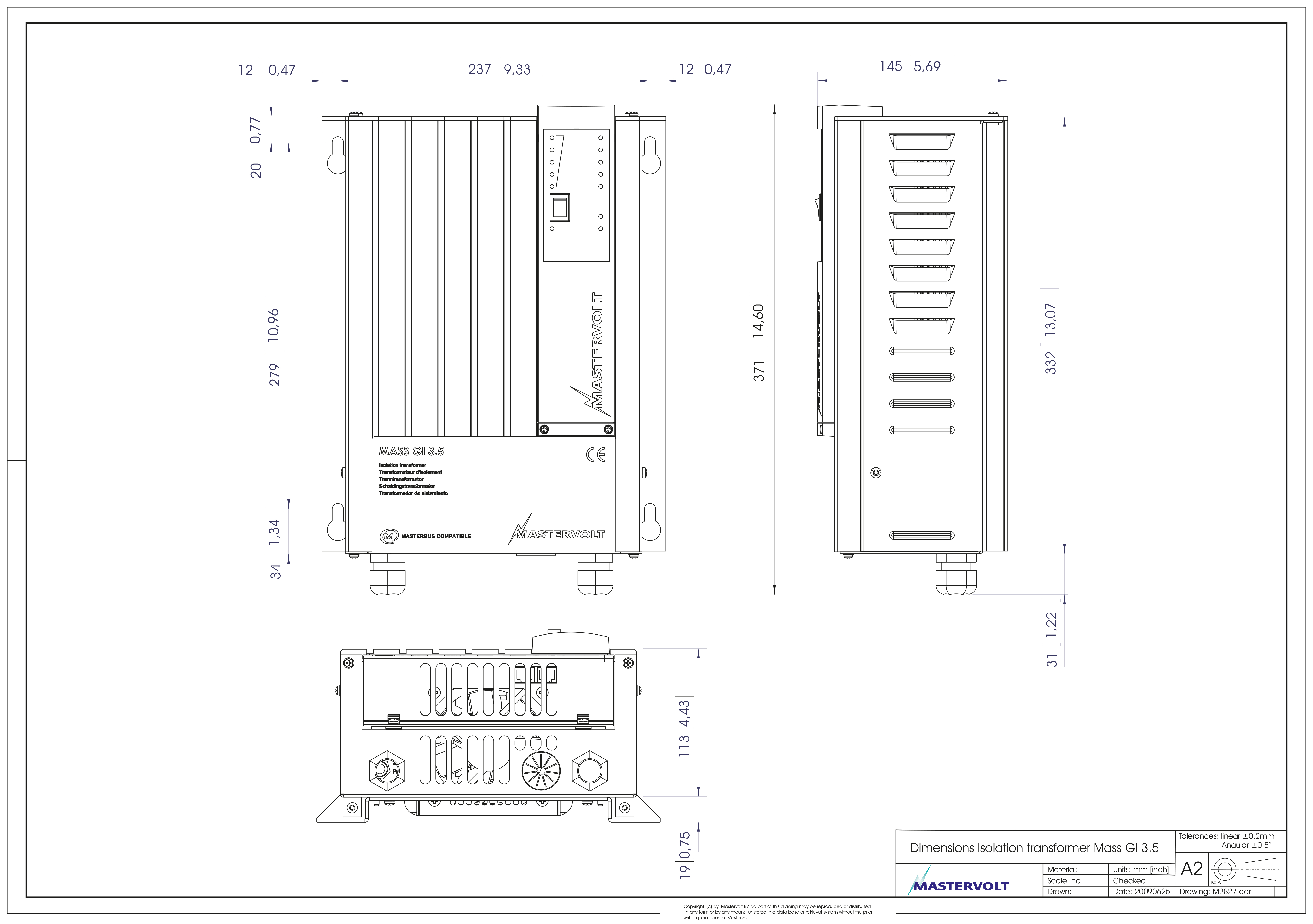 Galvanisk Isolator MASTERVOLT Mass Gi 35 Skilletrafo 1013748