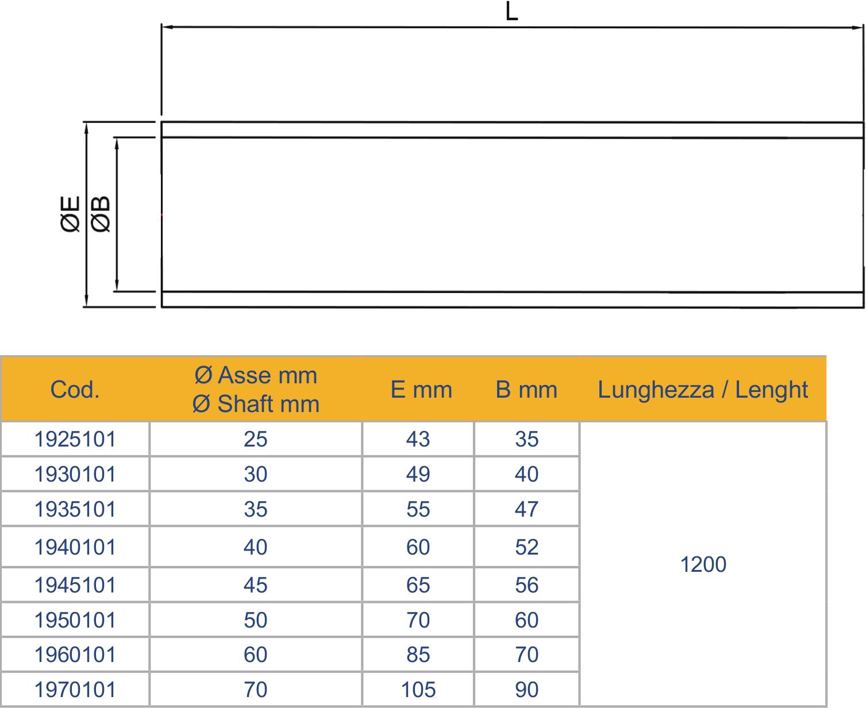 Hylserør TOR MARINE Utvendig akselrør 30x1200 mm uten lager 1046636