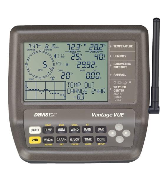 Komplett sett trådløs DAVIS Vantage Vue Værstasjon med display og uteenhet 2346800
