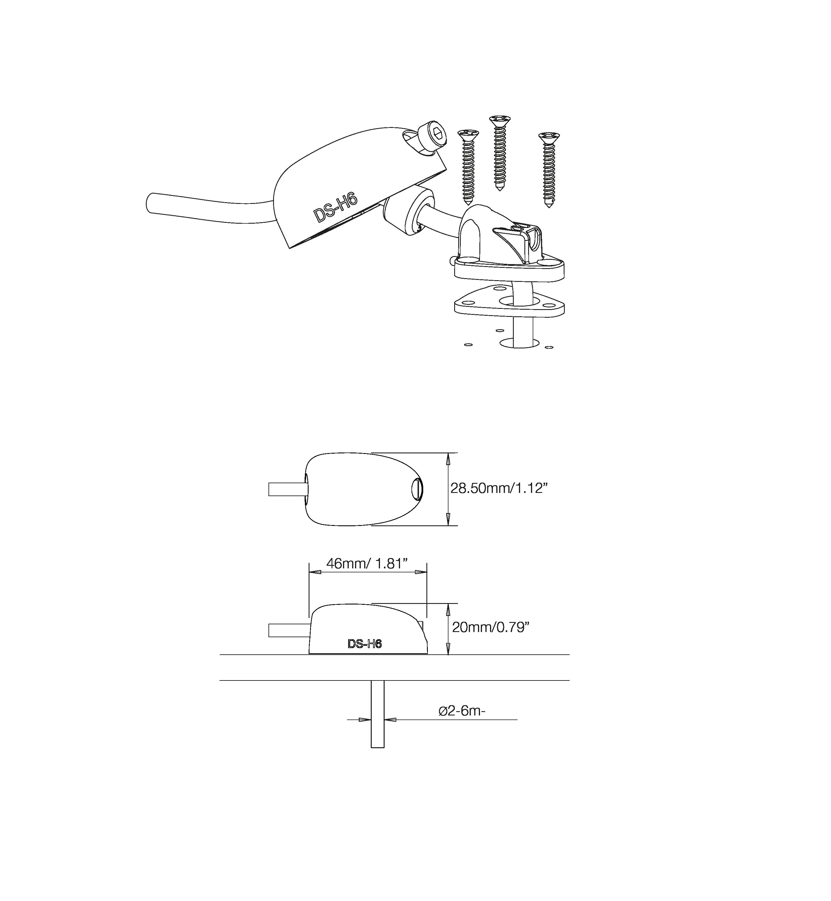 Diverse elektrisk SCANSTRUT Kabelgjennomføring vinklet DSH6 Grå kabel 26mm 1054