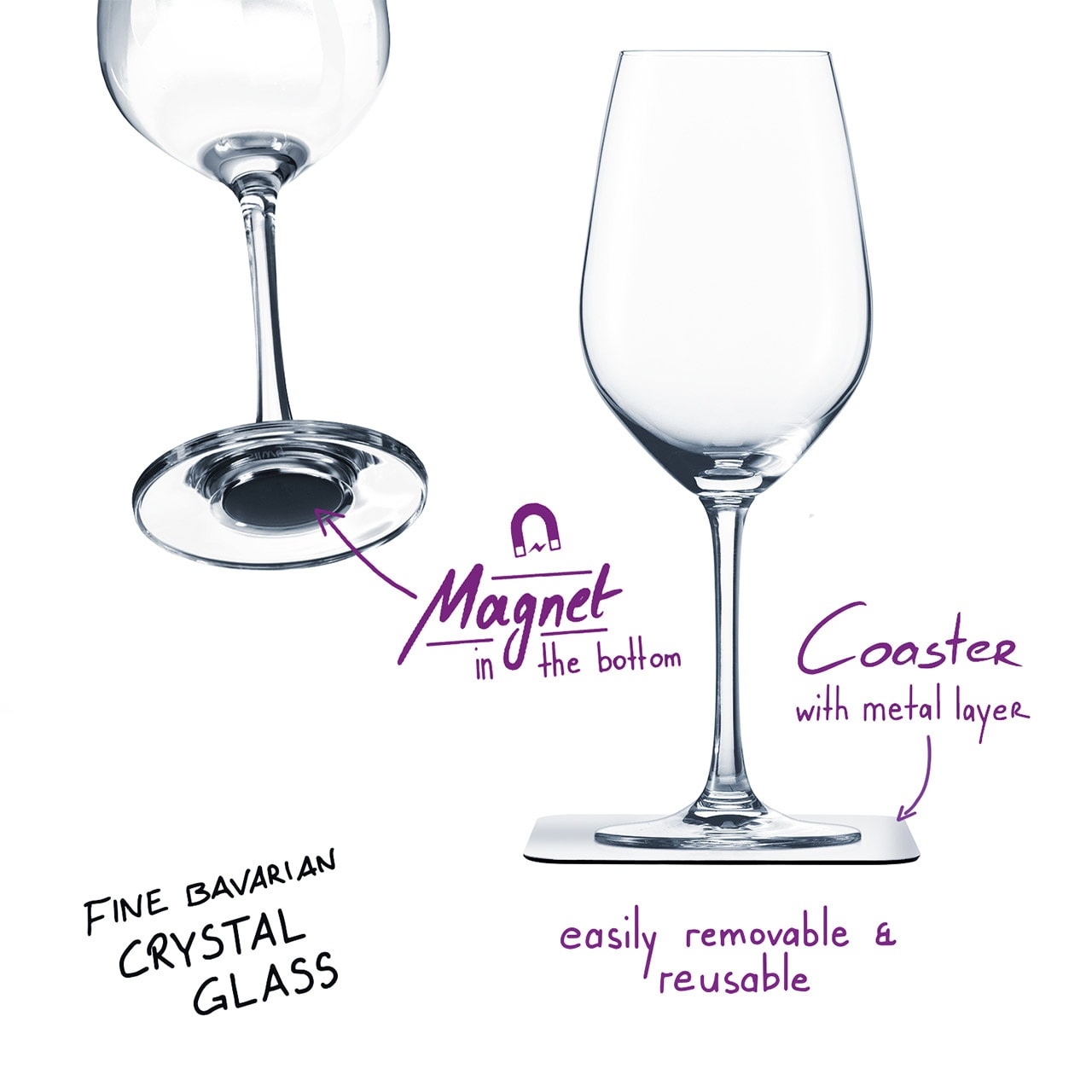 Uknuselige glass SILWY Magnetic Krystallglass Vin 2 stk og magnetpads S02522012