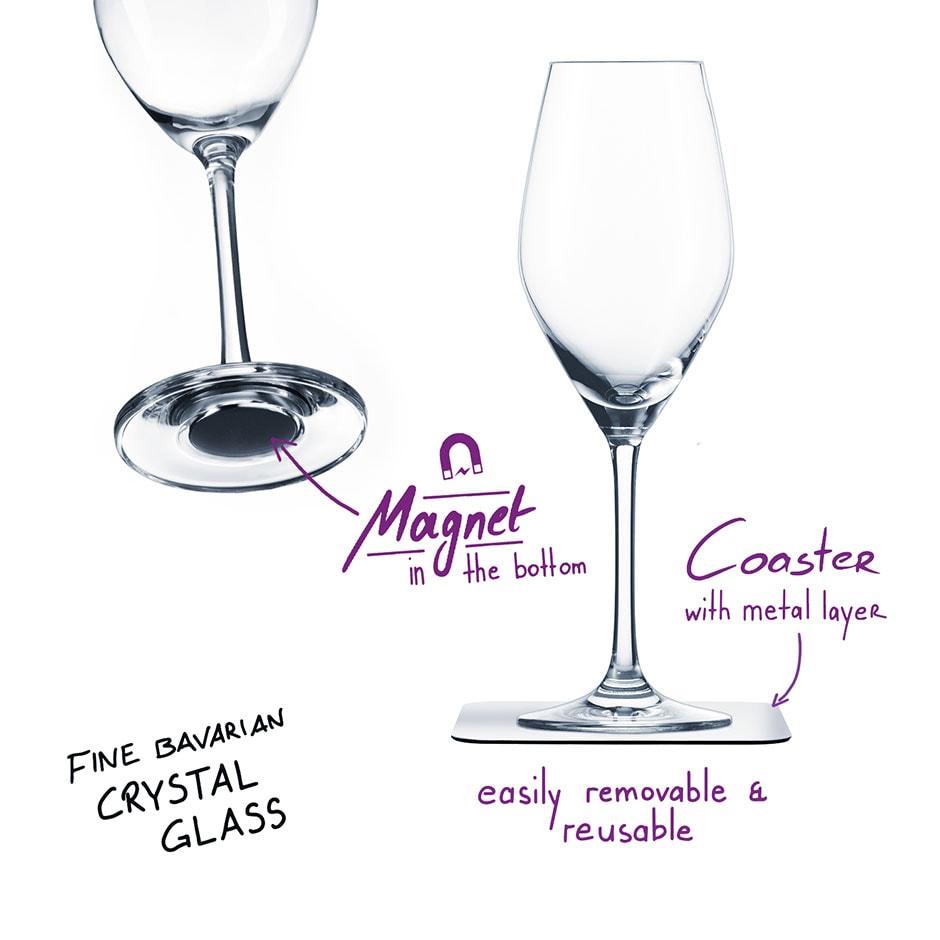 Uknuselige glass SILWY Magnetic Krystallglass Champagne 2 stk og magnetpads 536002