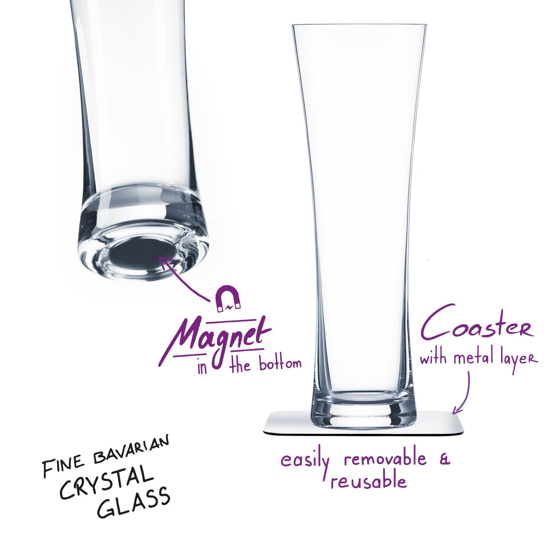 Uknuselige glass SILWY Magnetic Krystallglass Øl 2 stk og magnetpads 536003