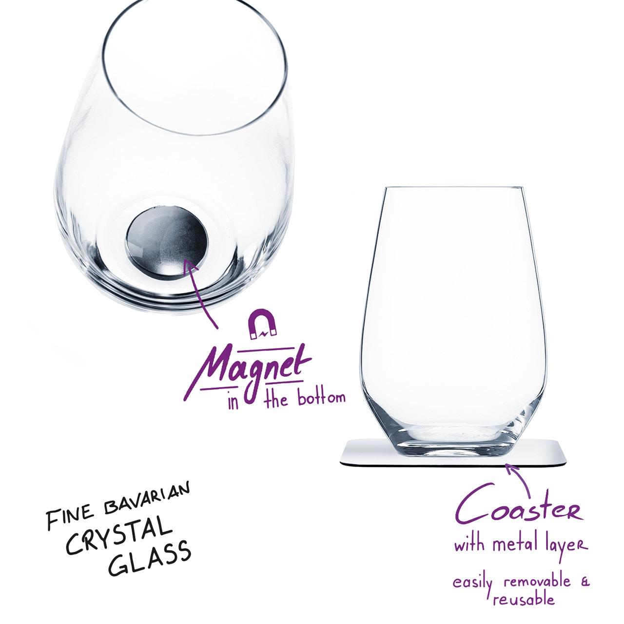 Uknuselige glass SILWY Magnetic Krystallglass Longdrink 2 stk og magnetpads S04022042