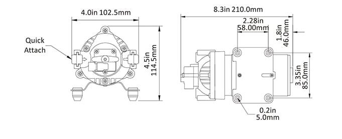 Trykkvannspumpe SEAFLO 12V 35 Serien 80PSI 7LMin 540745