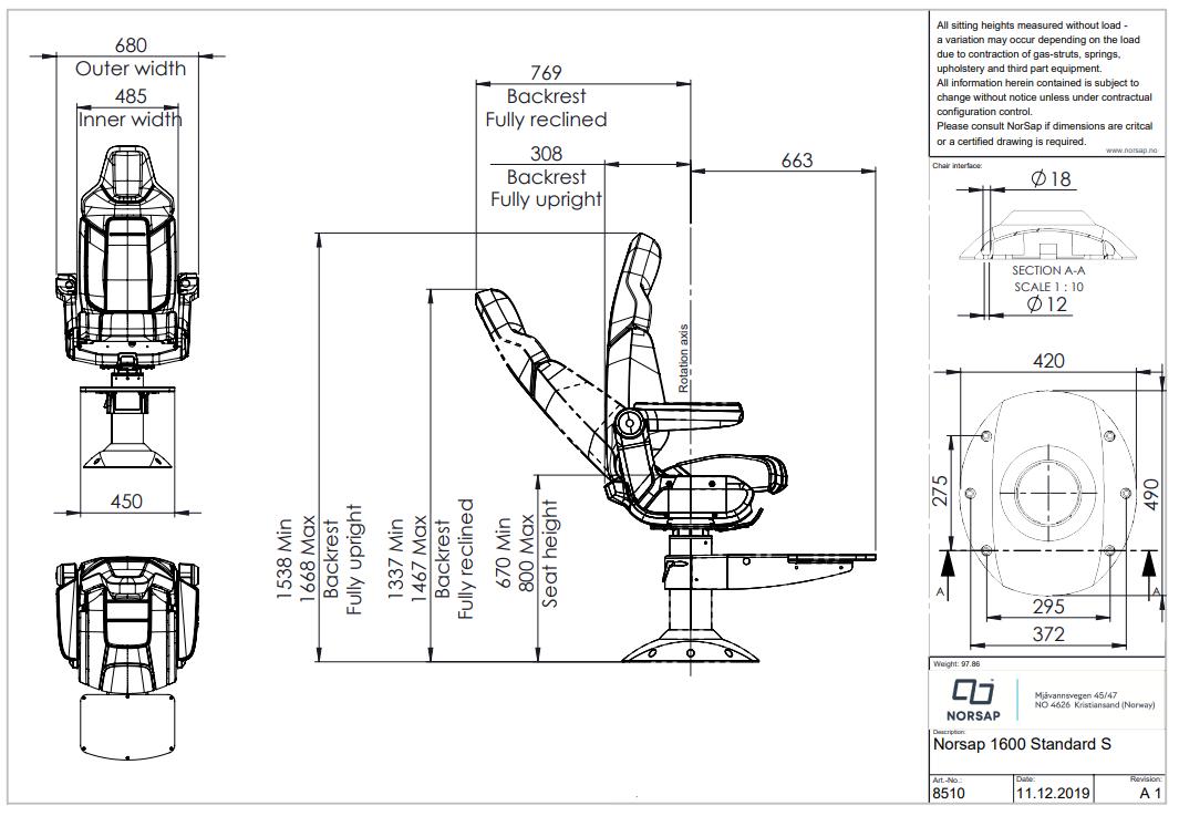 Skipsstoler NORSAP 1600 Skipperstol mstd understell 6780cm høy mfothviler polstret bak 8510
