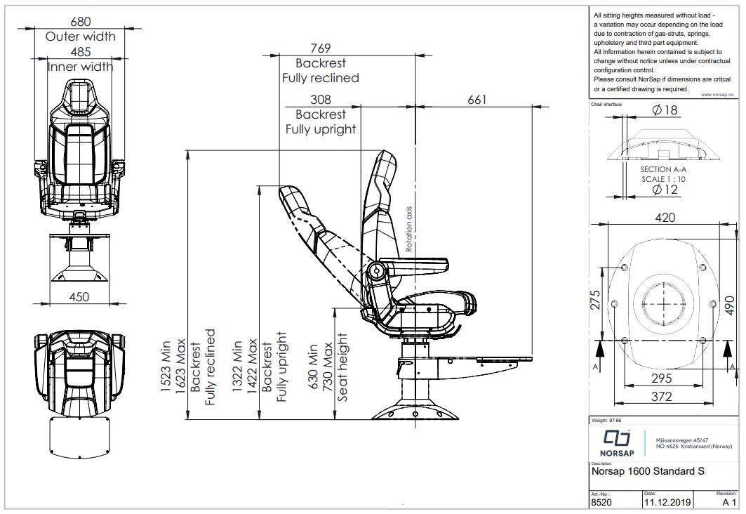 Skipsstoler NORSAP 1600 Skipperstol mstd understell 6373cm høy mfothviler polstret bak 8520